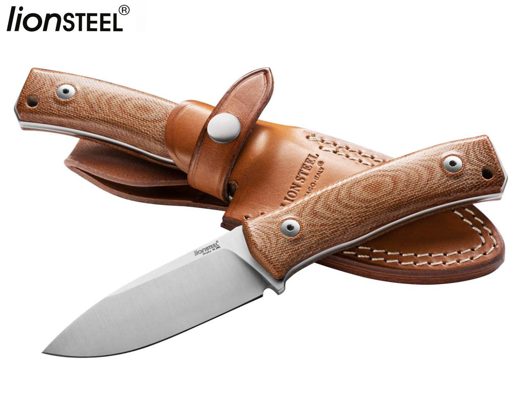 "LionSteel M4 3.74"" M390 Natural Canvas Micarta Fixed Blade Knife with Leather Sheath"