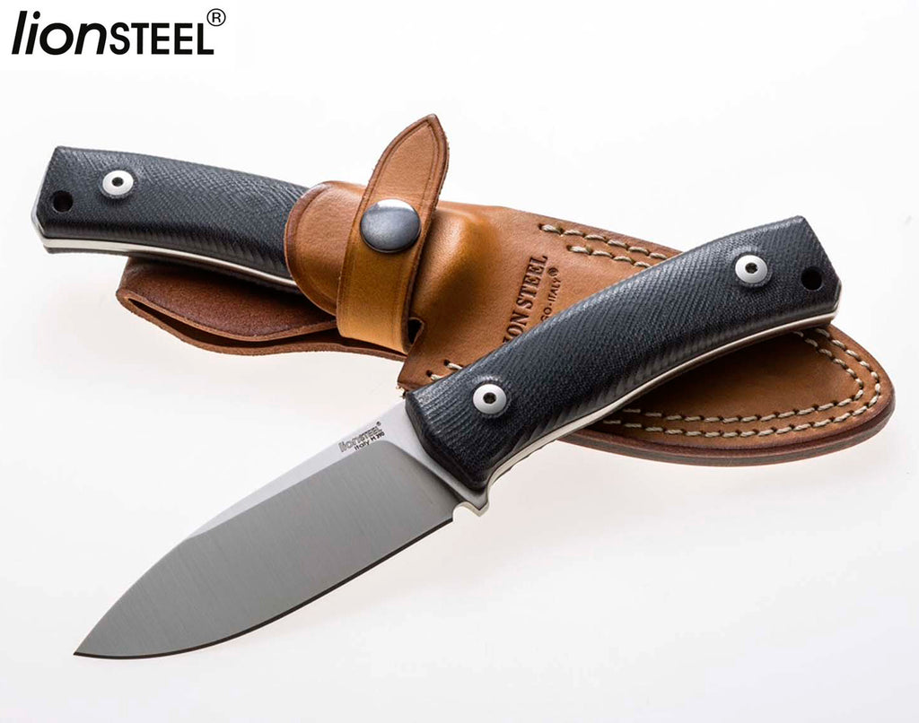 "LionSteel M4 3.74"" M390 G10 Fixed Blade Bushcraft Knife with Leather Sheath"