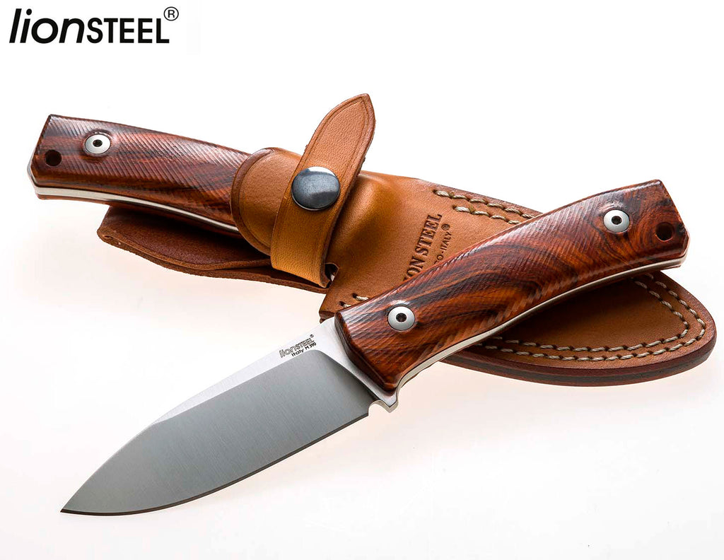 "LionSteel M4 3.74"" M390 Santos Wood Fixed Blade Bushcraft Knife with Leather Sheath"