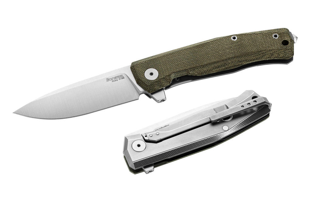 "LionSteel MT01 Myto 3.27"" M390 Folding Knife with Green Canvas Micarta Titanium Handle"