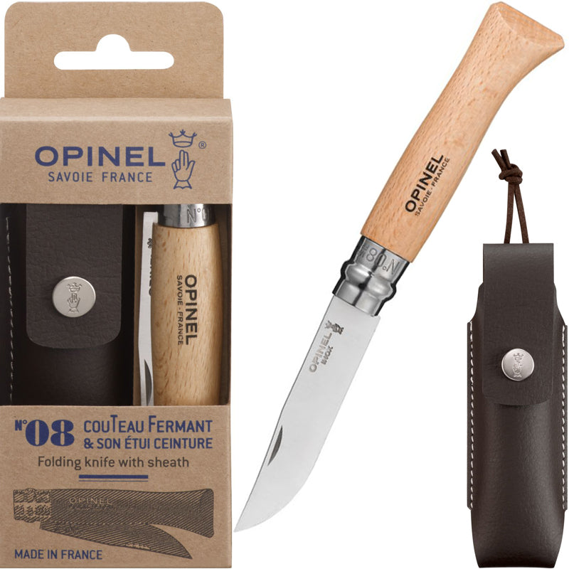 Opinel No. 8 Sandvik 12C27 Stainless Folding Knife with Leather Sheath - Made in France