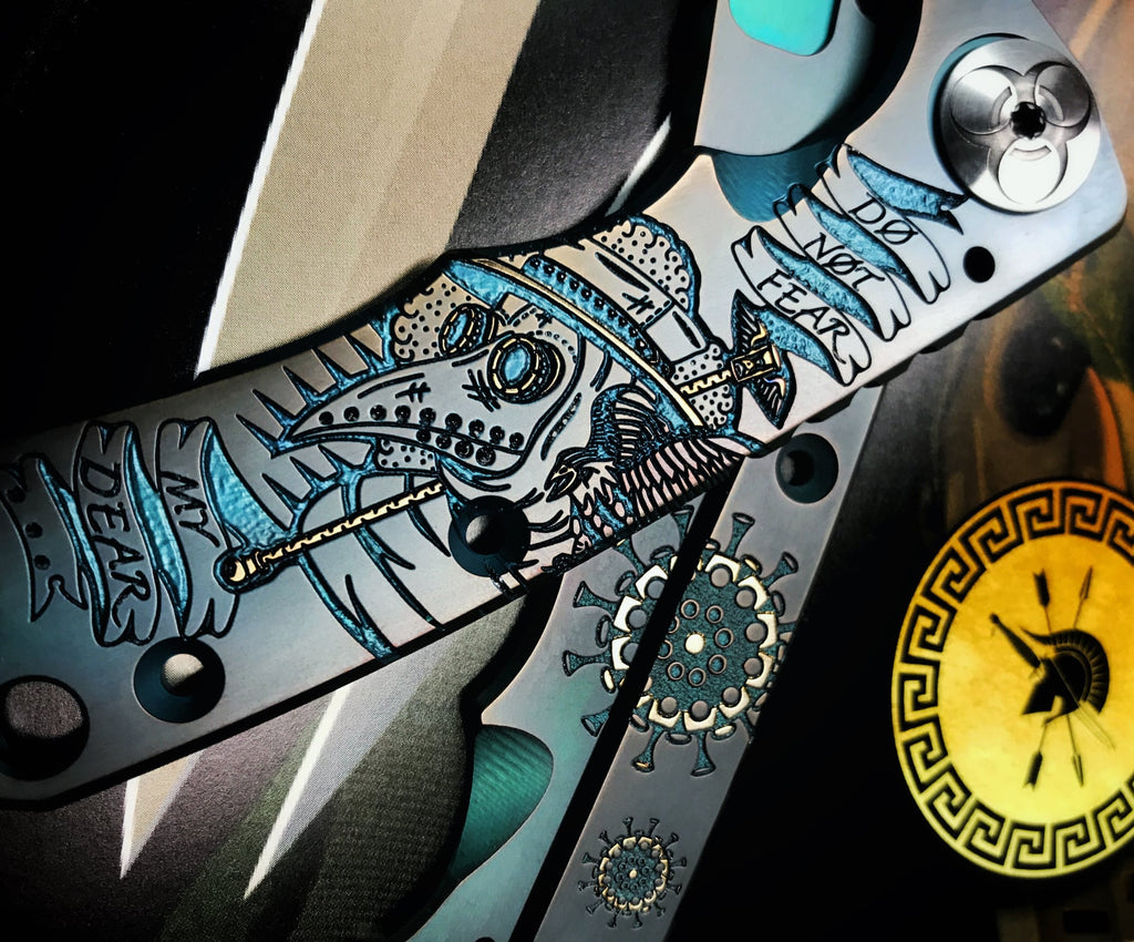 "Spartan Blades SHF Custom Plague Doctor Special Edition 4"" Chad Nichols Damascus Titanium Folding Knife"