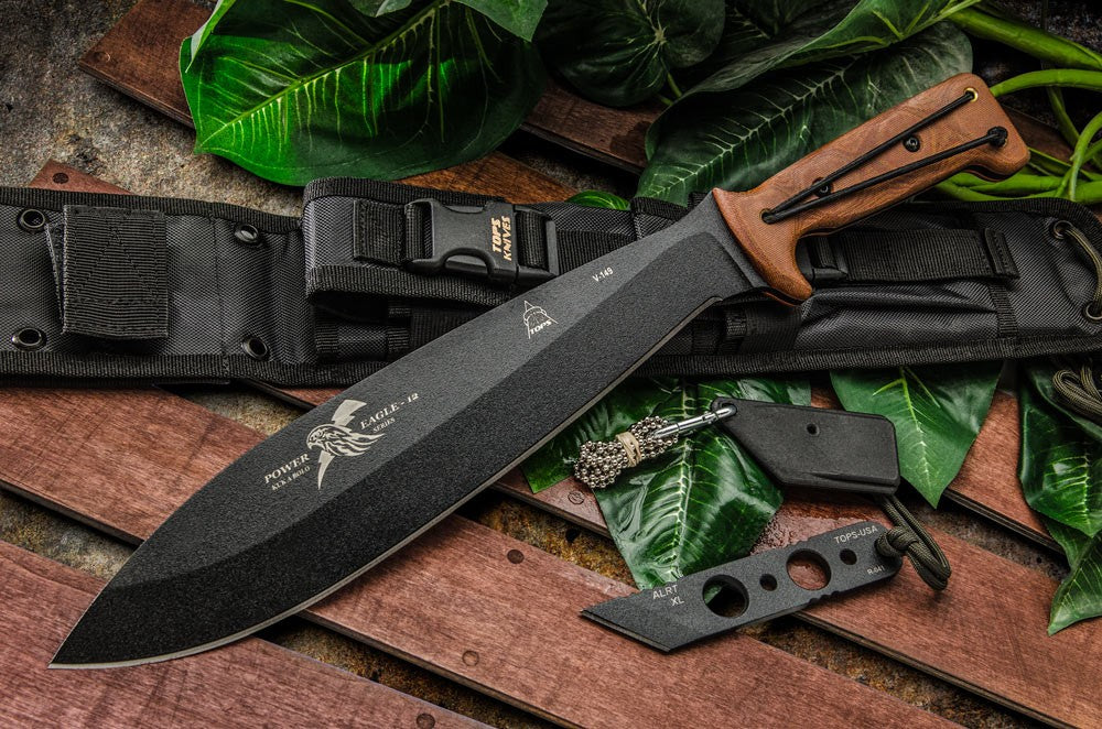 TOPS Knives Power Eagle 12 Bolo Machete Knife with ALRTXL-01 knife PE-12