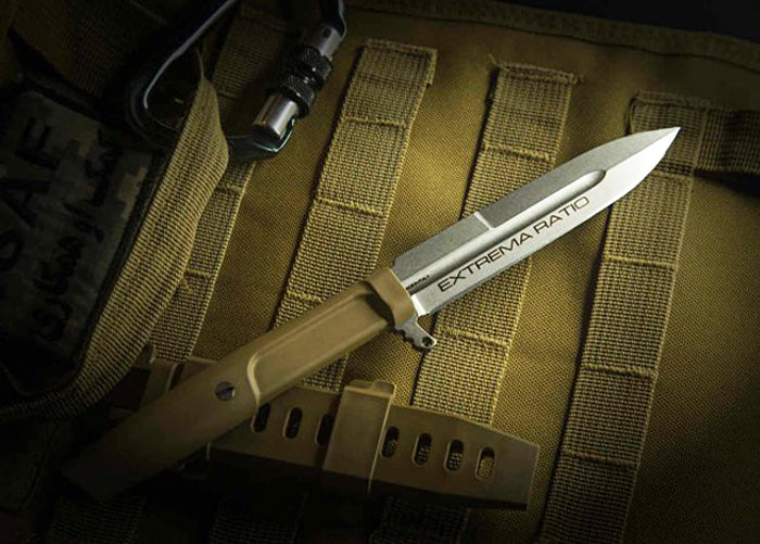 "Extrema Ratio Requiem HCS Hybrid Coyote Sage 4.64"" N690 Fixed Blade Knife with MOLLE Sheath"