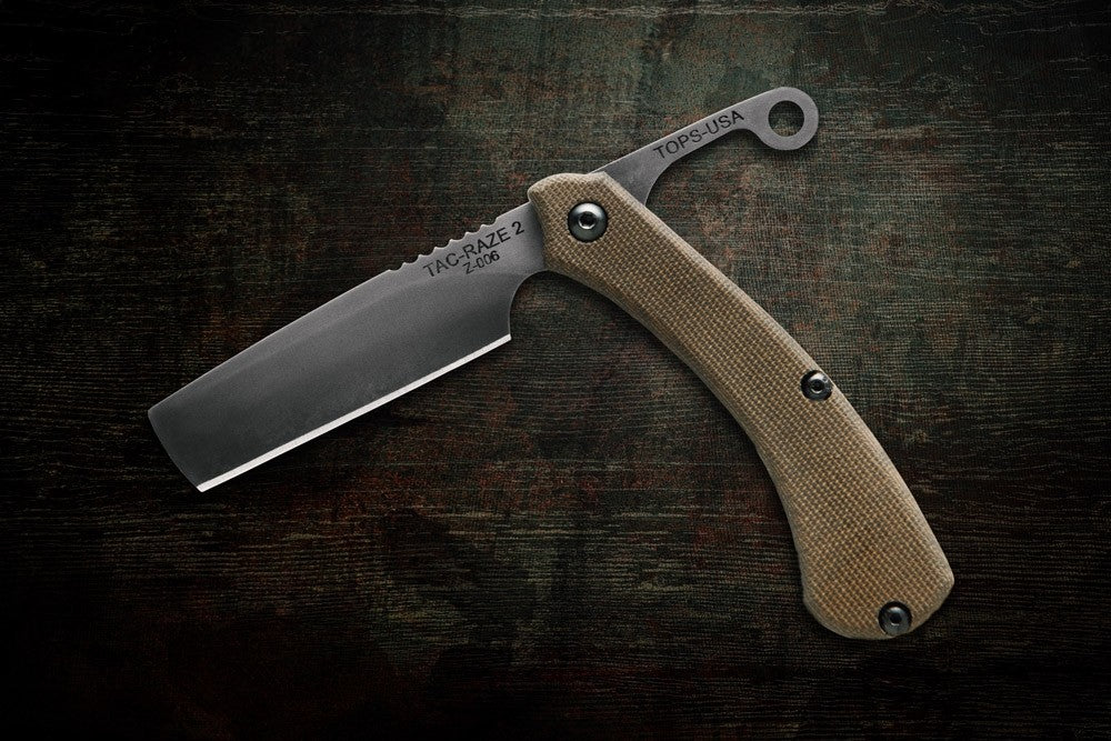 TOPS TAC-Raze 2 Friction Folder Knife with Leather Sheath TRAZ-02
