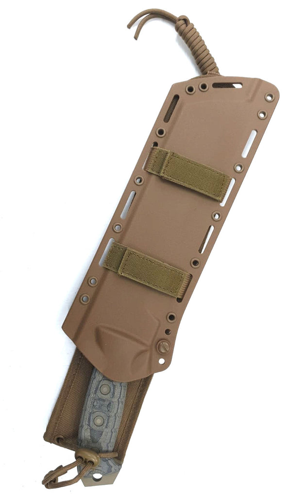 "Buck Talon 10"" 5160 Coyote Tan Cerakote Tricolor Micarta Fixed Blade Knife with MOLLE Sheath 0808BRX2-B"