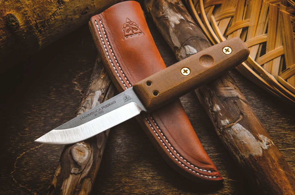"TOPS Tanimboca Puukko 3.63"" Micarta Fixed Blade Knife with Leather Sheath TPUK-01"