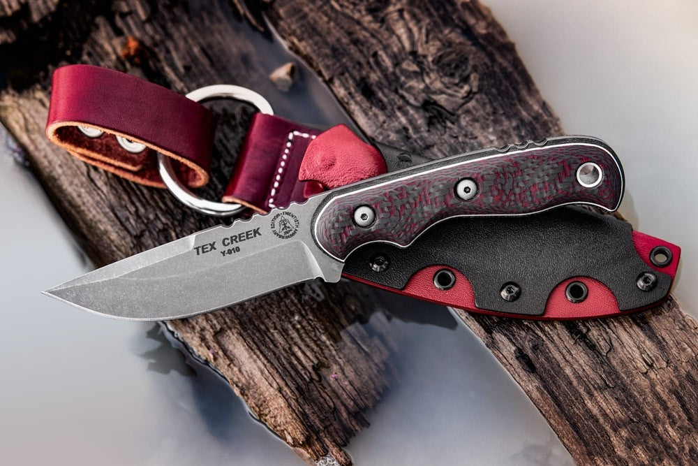 "TOPS Tex Creek 20th Anniversary 4.25"" CPM154 Fixed Blade Knife with Black/Red Carbon Fiber Handle TEX-20"