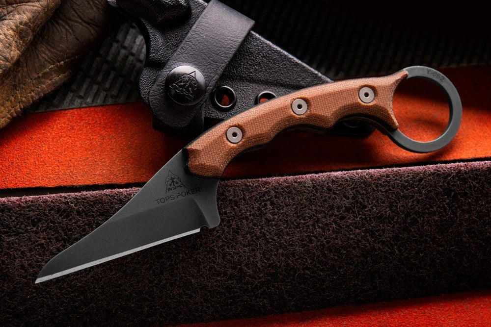 TOPS Poker Fixed Blade Kiridashi Karambit Knife with Kydex Sheath TPKR-01