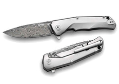 "LionSteel TRE 2.91"" Thor Damascus Damasteel Titanium Folding Knife TRE DT GY"