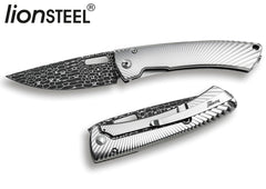 "LionSteel TS-1 3.35"" Lizard Damascus Chad Nichols Titanium Folding Knife TS1 DL GS"