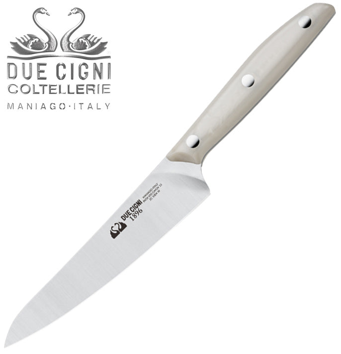 "Due Cigni 1896 5.5"" Kitchen Utility Knife with White POM Handle - Made in Italy 1004W"
