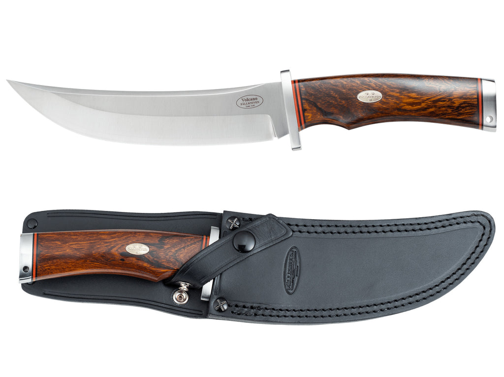 "Fallkniven V1L Volcano Desert Ironwood 6.69"" Lam.Cos Fixed Blade Knife with Leather Sheath and Display Box"
