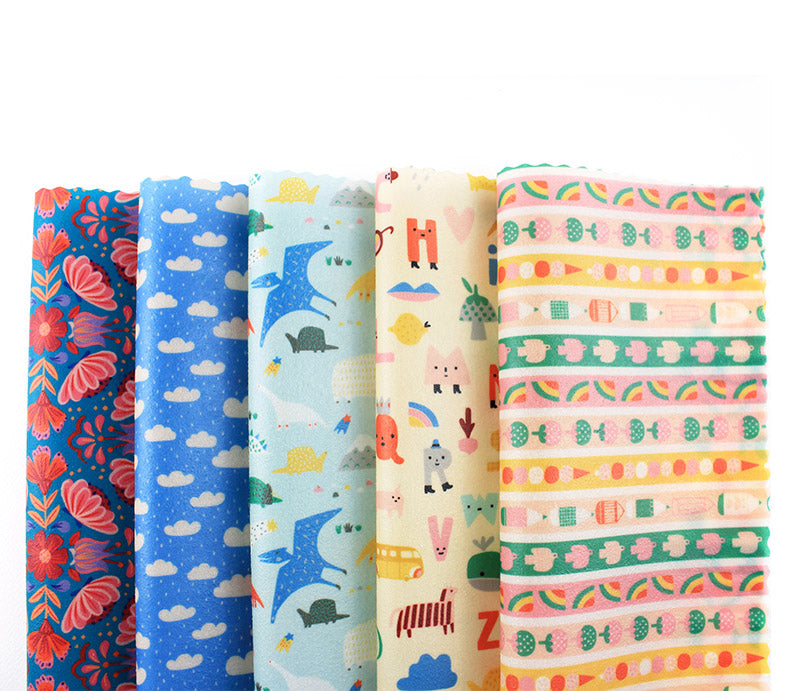 Assorted minimakers designer beeswax wraps in cloud dino alphabet washi print new arrivals