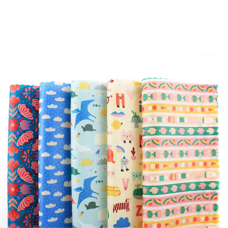 Assorted minimakers designer beeswax wraps shop by theme cloud dino alphabet washi print