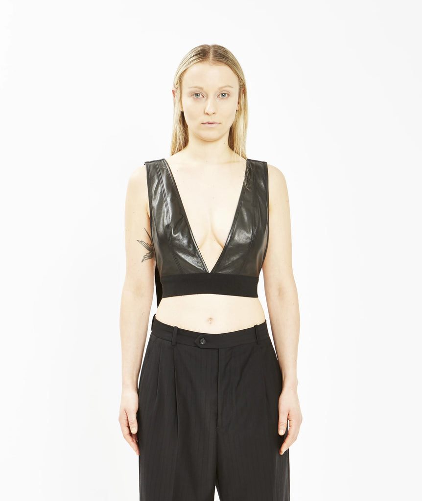 Leather Deep Plunge Bralette