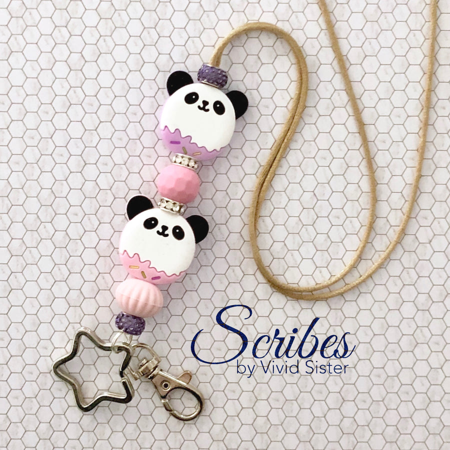 Panda Pastel Lanyard With Bling