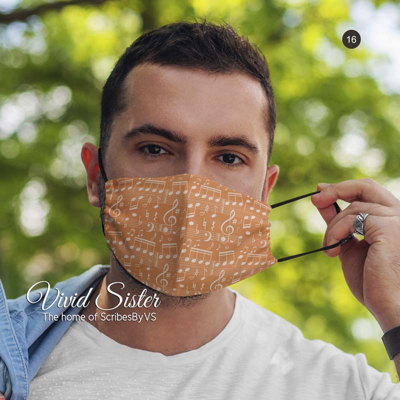 Musical Notes Face Mask Washable with Filter