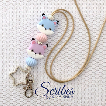 Kitten Fox Lanyard With Bling