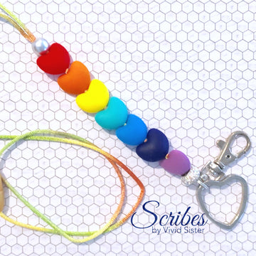 Rainbow Hearts Lanyard With Bling