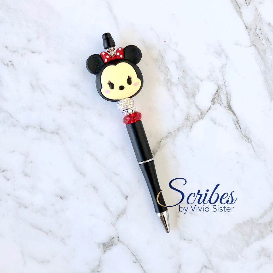 Minnie Pen with Silver and Red Bling