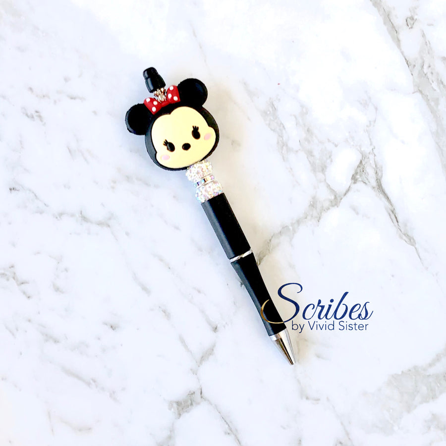 Minnie Pen with Silver Rhinestones