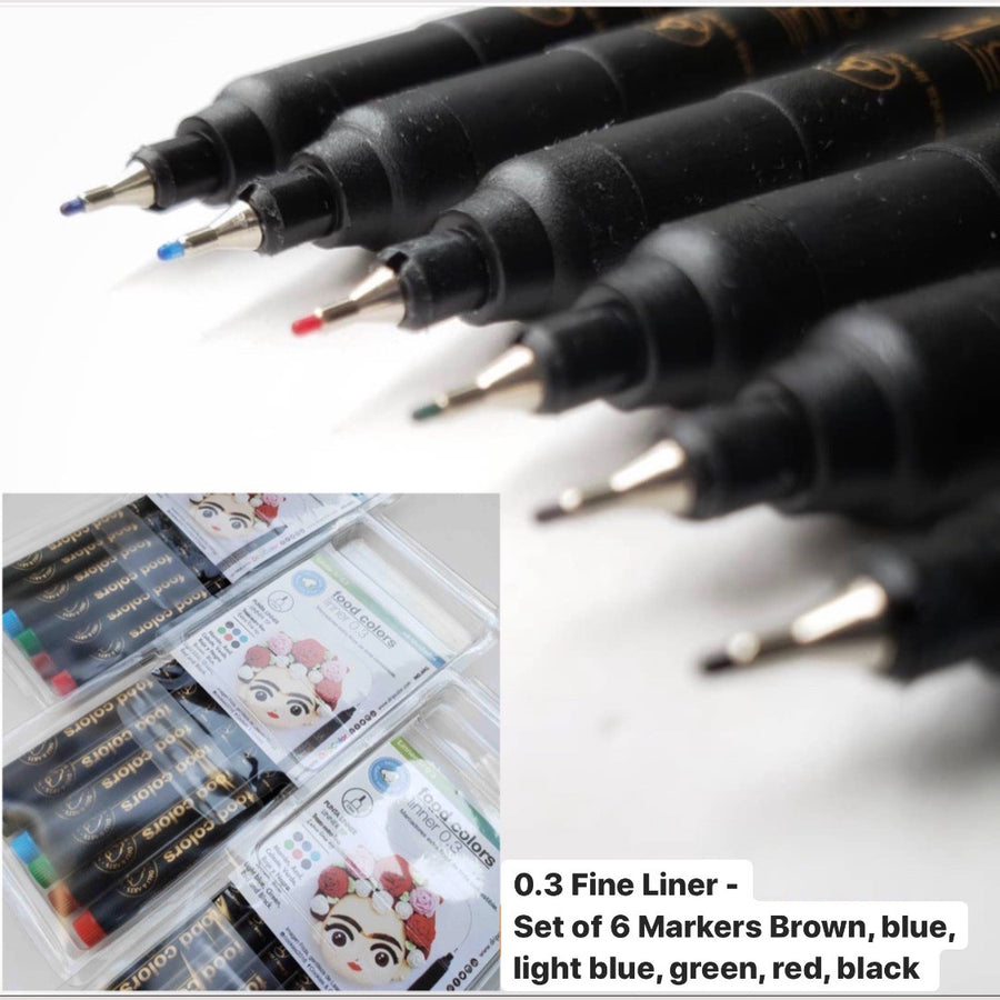 Fine Liner set of 6 Markers Edible Markers DripColor Food Colors