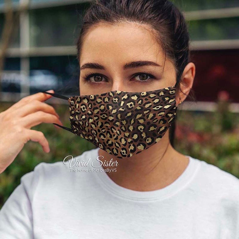 Leopard Print Face Mask Washable with Filter