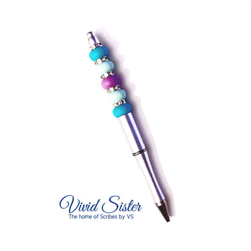 Silver Green Purple  Pen with Bling
