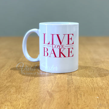 Live Love Bake Coffee Mug Hot Pink