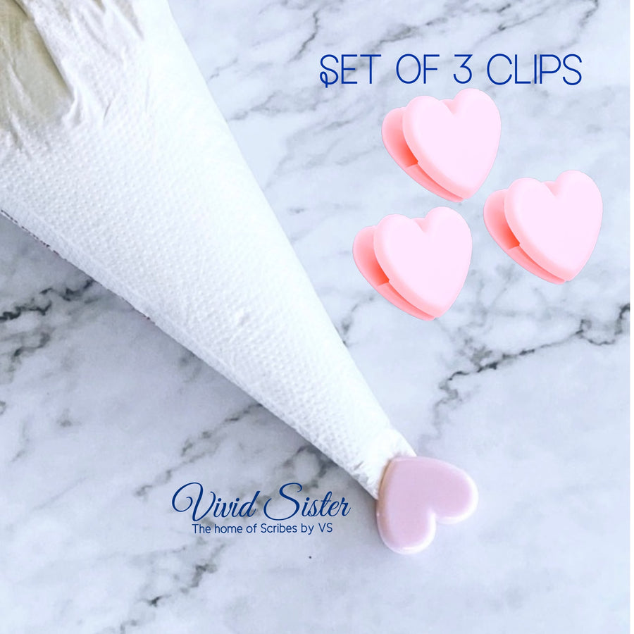 Heart Piping Bag Tip Clips Set of 3