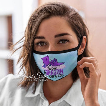 In Pain Dragon Every Day - Purple Ribbon Face Mask Reusable Washable