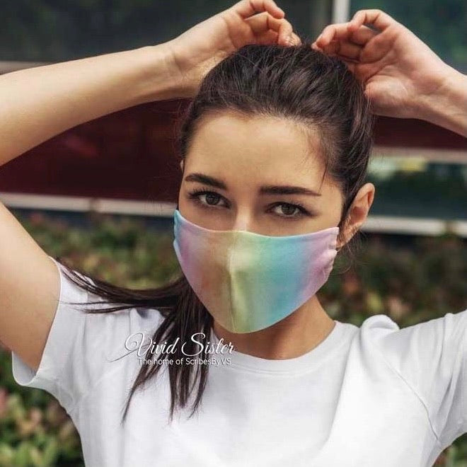 Rainbow Watercolour Face Mask Washable with Filter