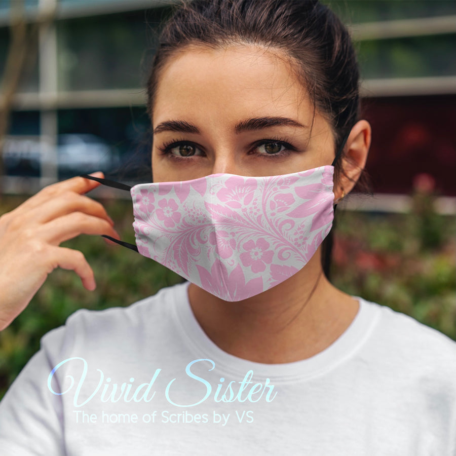 Pink Floral Face Mask Washable with Filter