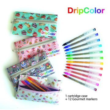 12 Edible Markers Gourmet Complete Set with Pouch Drip Color Edible Food Art Pen