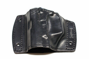 Leather car holster angled front view for semi-auto pistol