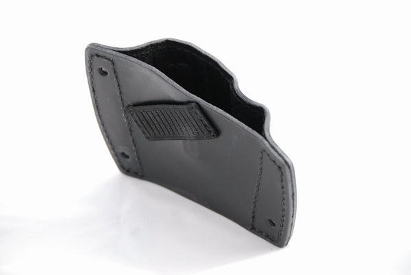 Leather mountable car holster back view showing magazine holder strap