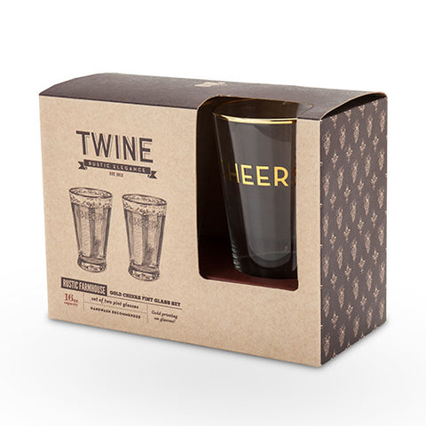 Gold Cheers Pint Glass Set