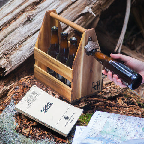 Wood Beer Bottle Caddy