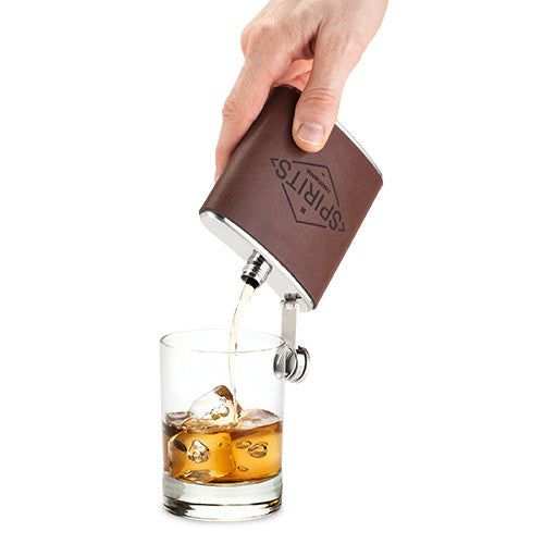 """Spirits"" Genuine Leather Hip Flask - Only £26.99"