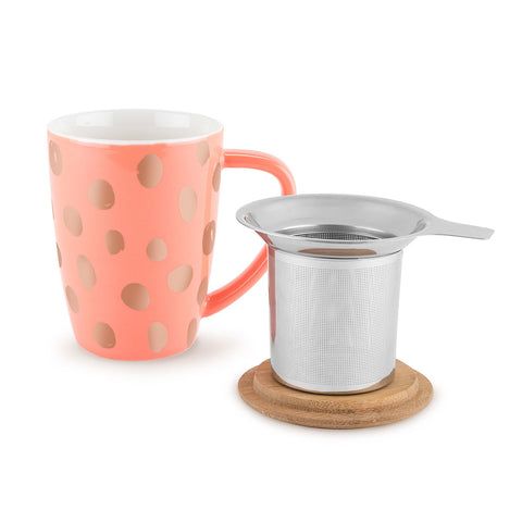 Bailey Peach and Copper Ceramic Tea Mug and Infuser
