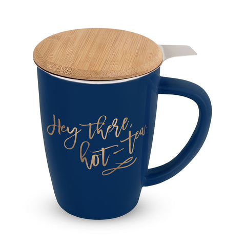 Bailey Hey There, Hot-Tea Ceramic Tea Mug and Infuser