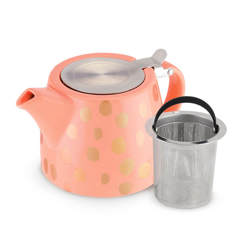 Harper Peach and Copper Ceramic Teapot and Infuser