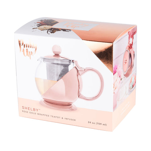 Shelby Rose Gold Wrapped Teapot and Infuser
