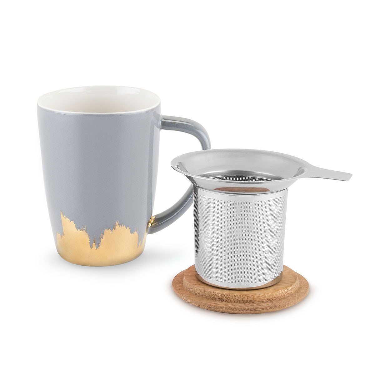 Bailey Grey and Gold Dipped Ceramic Tea Mug and Infuser | Only £19.99