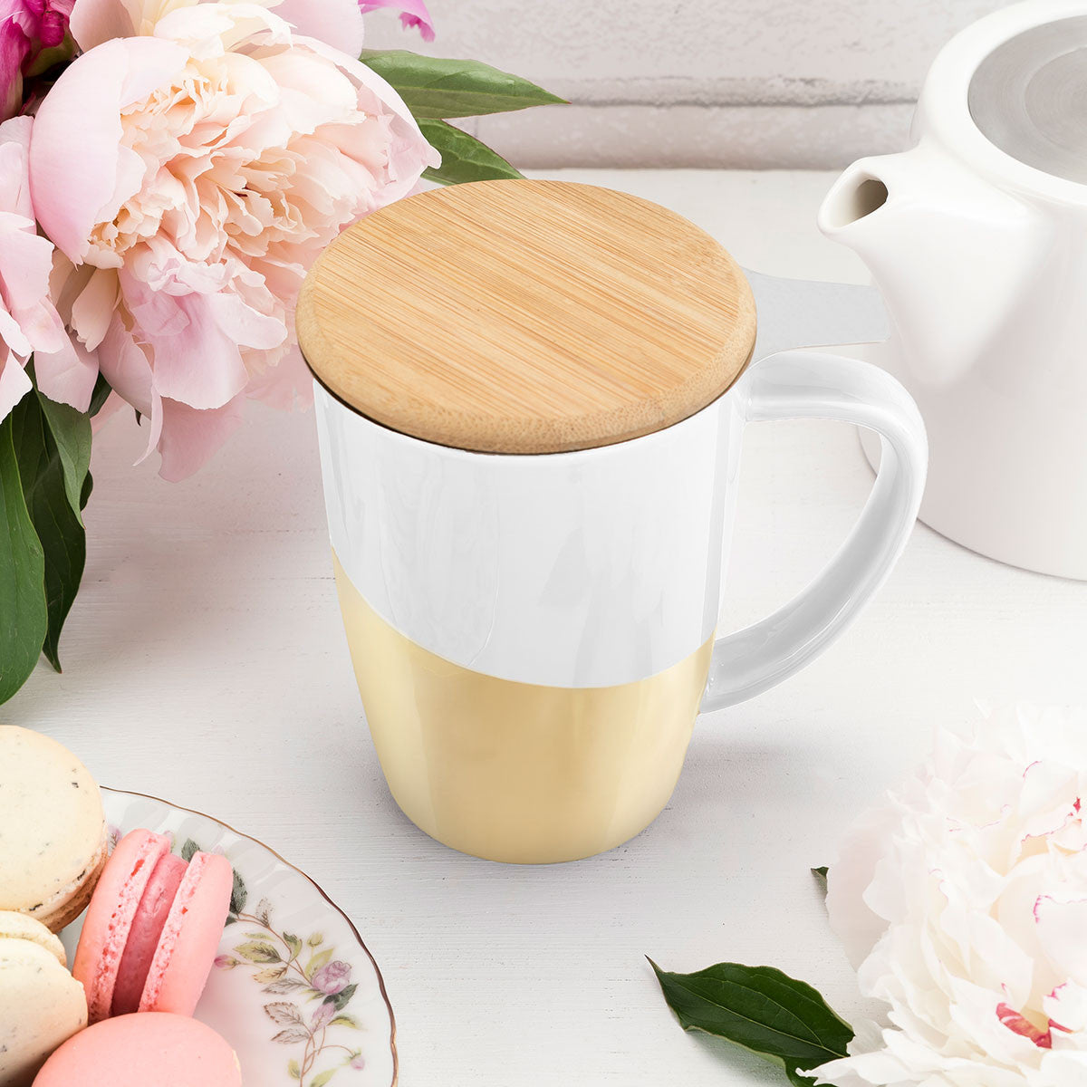 Bailey Gold Dipped Ceramic Tea Mug and Infuser | Only £19.99