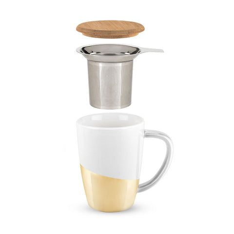 Bailey Gold Dipped Ceramic Tea Mug and Infuser