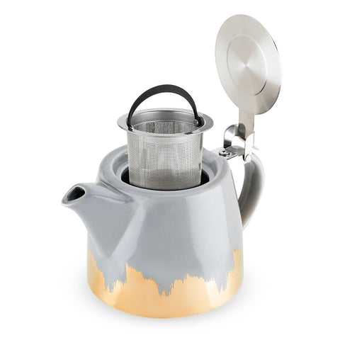 Harper Grey and Gold Brushed Ceramic Teapot and Infuser