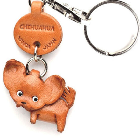 3D Leather Dog Keyring - Chihuahua