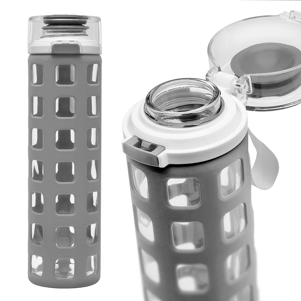 ELLO Syndicate Glass Water Bottle - Grey | Only £14.99